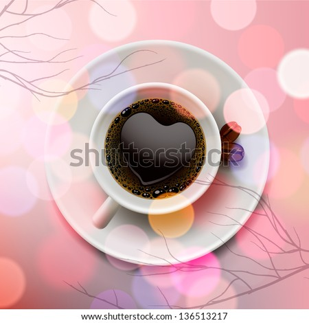 White coffee cup with heart shape made of froth on pink blur background, vector illustration.