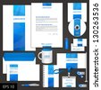 White corporate identity template with blue stripe. Vector elements for brandbook and guideline. EPS 10 - stock vector