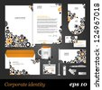 White corporate identity template with cogwheels and arrows. Vector company style for brandbook and guideline. EPS 10 - stock vector