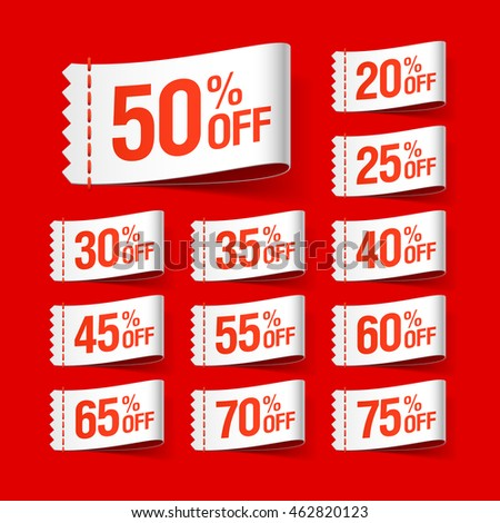 White discount sale labels vector illustration