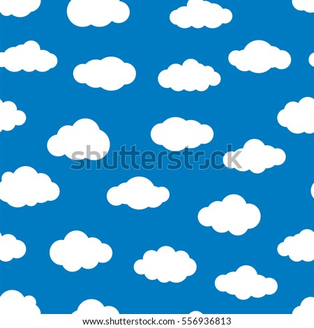 White flat clouds on the blue sky. Seamless vector pattern. Various shapes of clouds for weather design, wallpaper or gift wrapping. Abstract sky background.