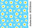 White flowers on blue background. Seamless pattern. - stock vector