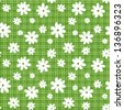 White flowers on green wicker background. Eps-10 vector seamless pattern. - stock vector