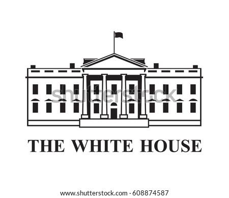 White House Building Icon Washington Dc 608873786