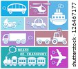 white means of transport icons on color background - stock vector