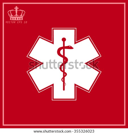 White Medical symbol of the Emergency - Star of Life - icon isolated