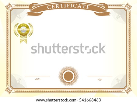 White official certificate with gold emblem and yellow frame