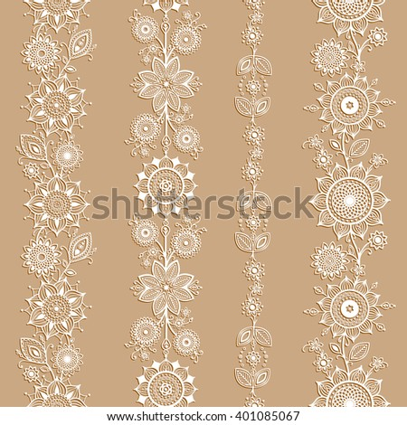 White ornamental seamless borders. Mehndi style. Four floral borders with transparent shadows and separated from background.