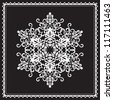 White ornamental snowflake in square frame isolated on black, decorative vector elements for winter design - stock vector