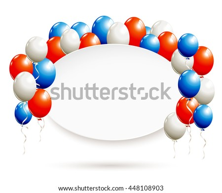 White oval banner with balloons in red, blue, white