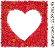 White painted heart on red ornate background, template for your greeting card - stock photo