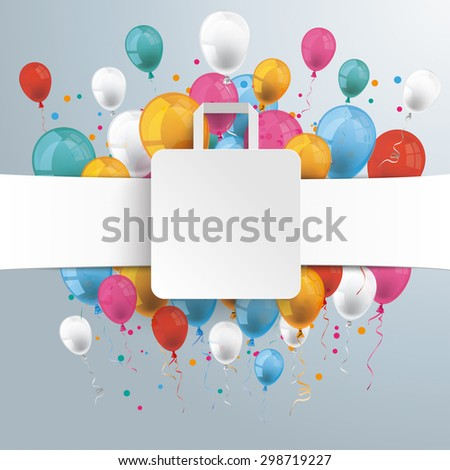 White paper banner, shopping bag and colored balloons.  Eps 10 vector file.