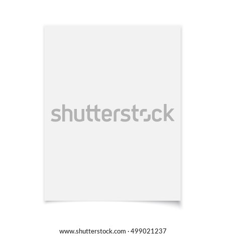 White paper isolated on white background. Vector illustration.