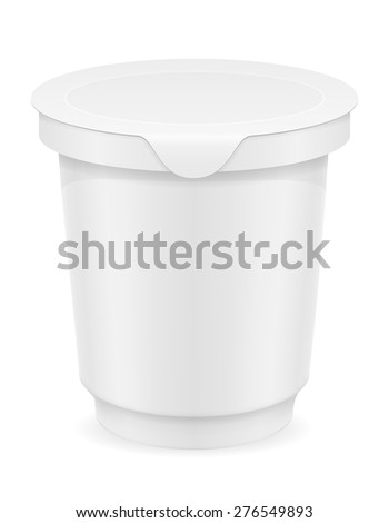 white plastic container of yogurt or ice cream vector illustration isolated on background