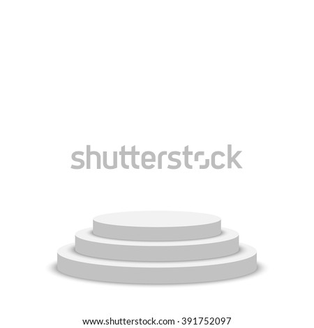 White podium. Pedestal. Scene. 3D. Vector illustration.