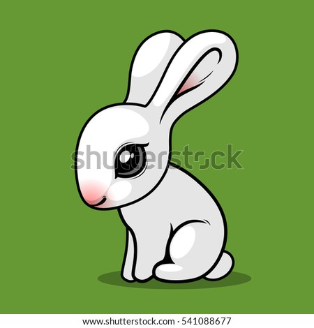 white rabbit on a green background