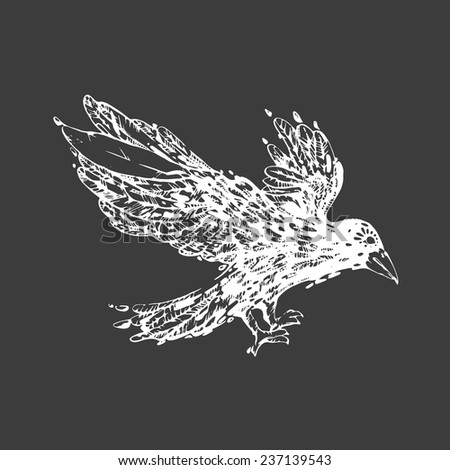 White Raven.Vector illustration. It may be used for design of a t-shirt, print, bag.