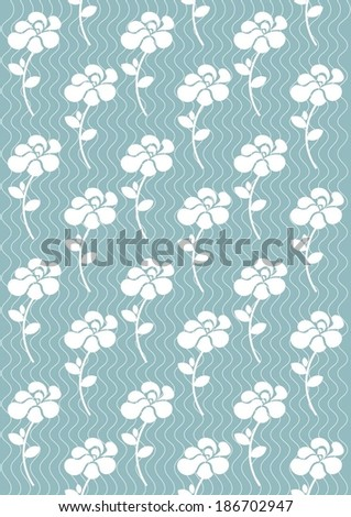 white rose on blue background seamless pattern