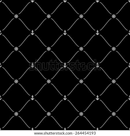 White seamless pattern with anchor & ship wheel symbols on black, 10eps.
