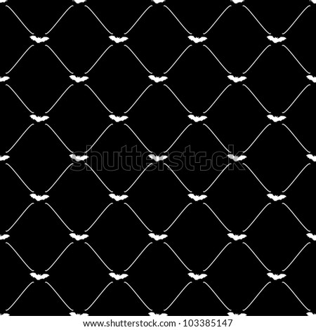 White seamless pattern with bat symbol on black, vector, 10eps.