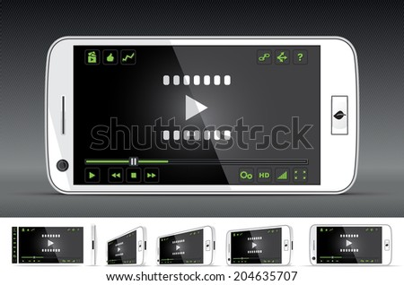 White Smart Phone Video Player - Vector illustration - multiple views of a smart phone with video player interface. Media player with full interface included. File type: vector EPS AI8 compatible.