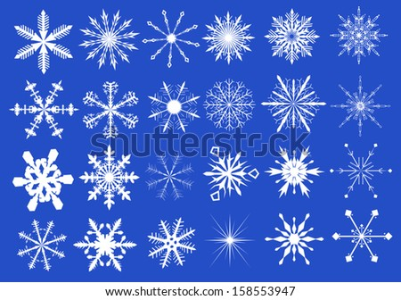 white snowflakes collection on blue background