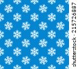 White snowflakes vector seamless pattern - xmas blue background texture - stock vector