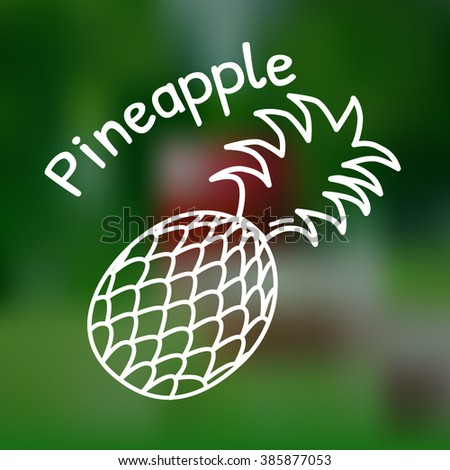 White thin line icon of pineapple with name on mesh background