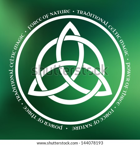 White Triquetra symbol on green abstract background - stock vector