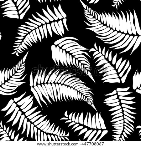 White tropical leaves on black background. Seamless pattern.