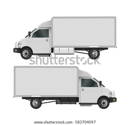 white truck template cargo van vector stock vector 583702909 shutterstock. Black Bedroom Furniture Sets. Home Design Ideas