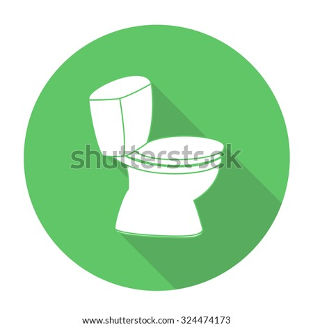 White vector flush toilet on color circle background.