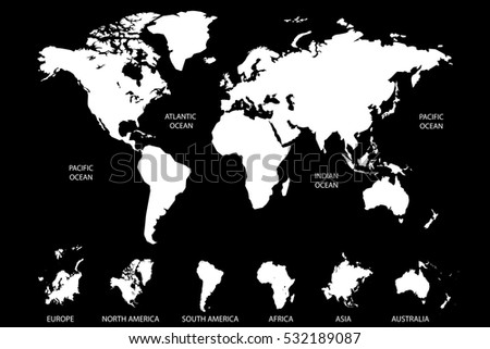 White world map vector on black background. Continents and oceans. Europe. Asia. North America. South America. Africa. Australia