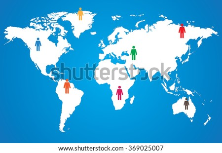 White world map with pictogram people on blue background