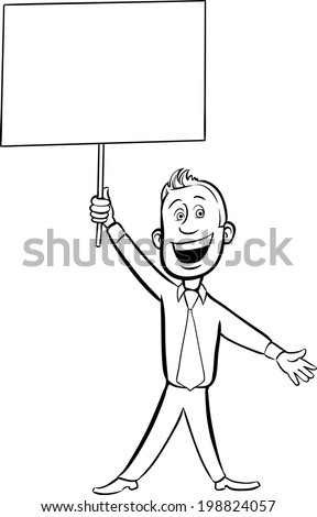 whiteboard drawing - cartoon cheerful businessman with blank placard. Easy-edit layered vector EPS10 file scalable to any size without quality loss.