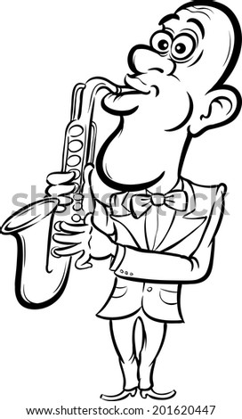whiteboard drawing - cartoon saxophone player