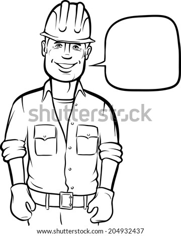 Whiteboard Drawing Three Cartoon Workers Signs Stock Vector