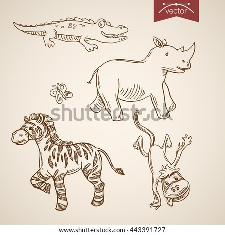 Wild life zoo friendly funny animal icon set. Engraving style pen pencil crosshatch hatching paper painting retro vintage vector lineart illustration. Smiling crocodile rhinoceros zebra dancing monkey