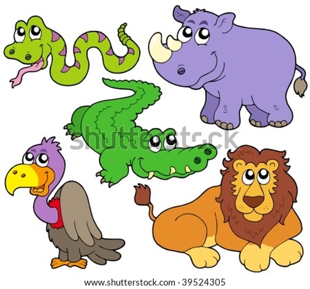 Wildlife cute animals collection - vector illustration.