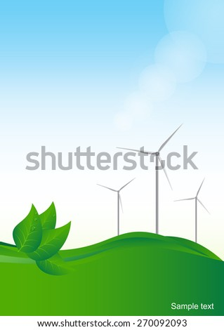 Wind generator, green energy. Vector  background.
