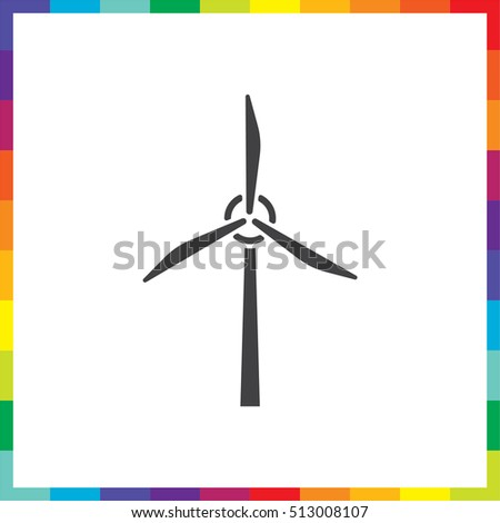 Wind generator vector icon. Windmill sign. Electricity collection technology symbol