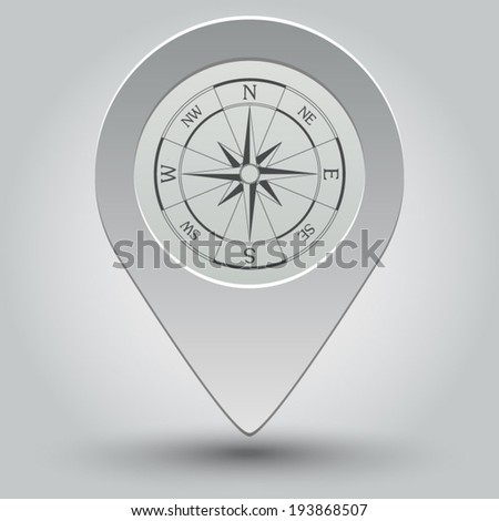 Wind Rose Compass Icon Vector Map Pointer With Shadow On