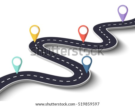 Road Trip Journey Route Winding Road Stock Vector