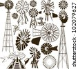 Windmill Collection - stock vector