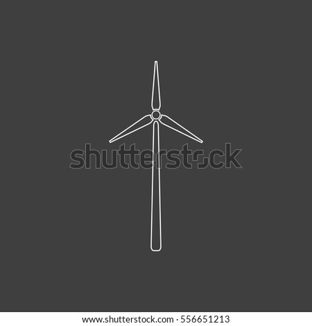 Windmill Outline vector icon. Contour line white pictogram on black background. Illustration symbol