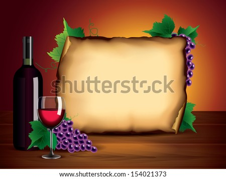 Wine background with bottle, glass, grapes and blank paper on dark wooden table