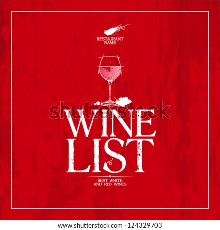 Wine List Menu Card Design Template Stock Vector