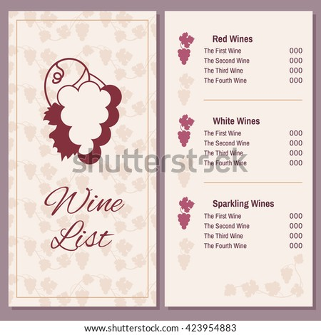 Vintage Wine Menu Design Document Template Stock Vector