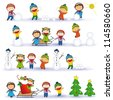 Winter and Christmas background with happy kids - stock vector