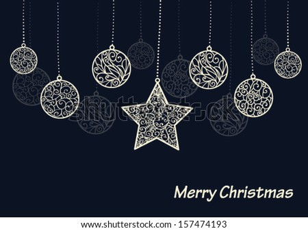 Winter background, white baubles and star on black  background, Christmas card